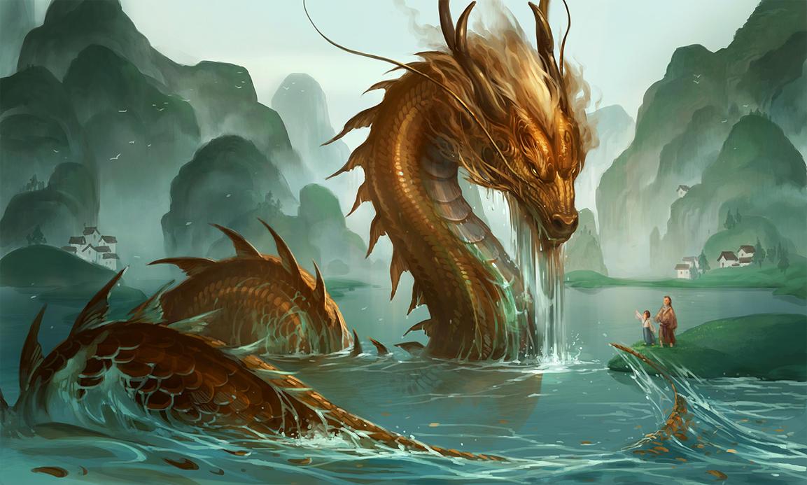 湖面から顔を出した龍の壁紙