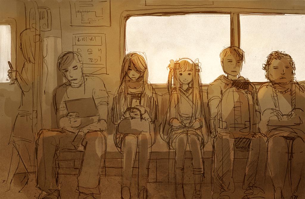 girl on train by sandara
