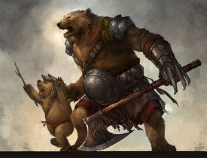 ursine warrior and cub