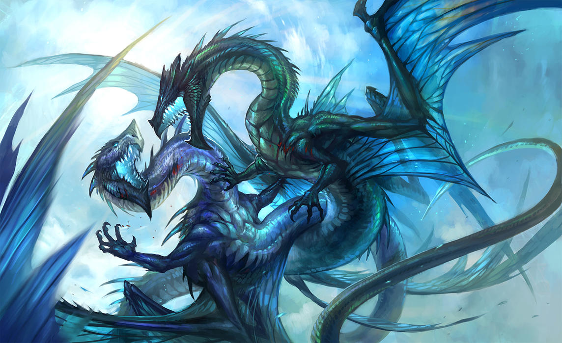 戦うブルードラゴンの壁紙