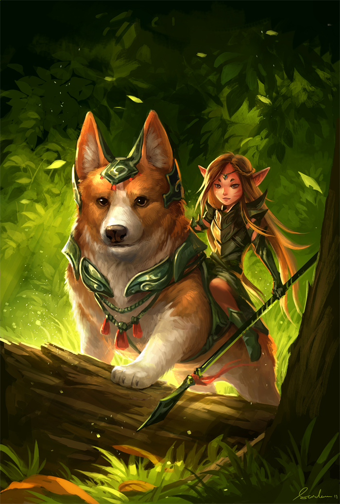 Corgi and fairy (updated) by sandara