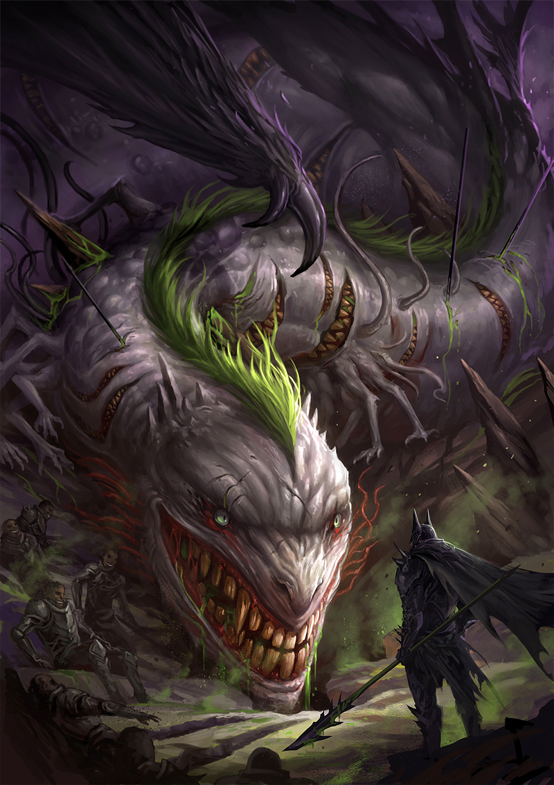 Chaos Wyrm Vs Dark Knight By Sandara Imaginarymonsters