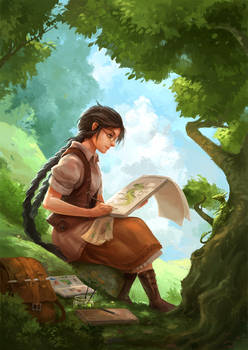 girl painting a dragon