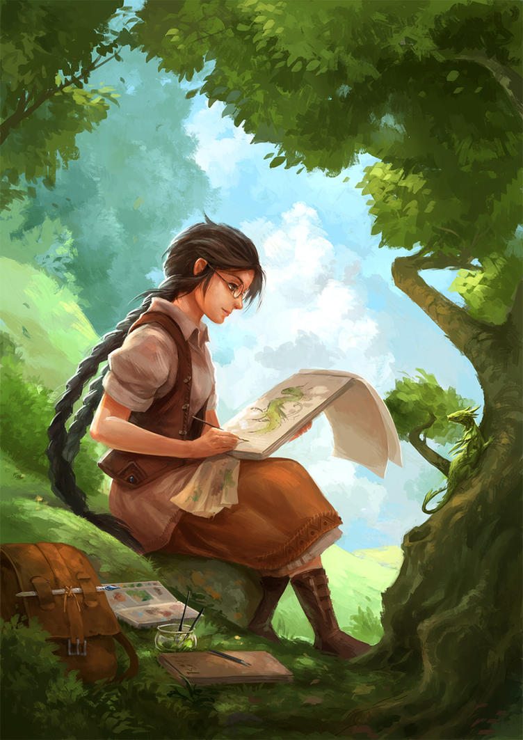 girl painting a dragon by sandara