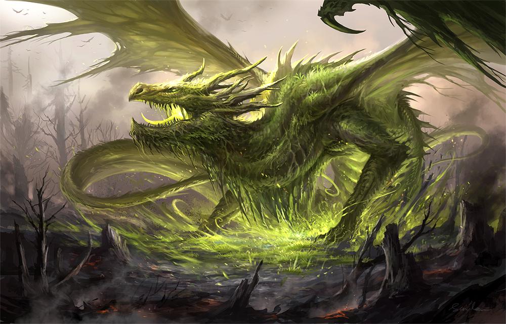 咆哮するグリーンドラゴンの壁紙