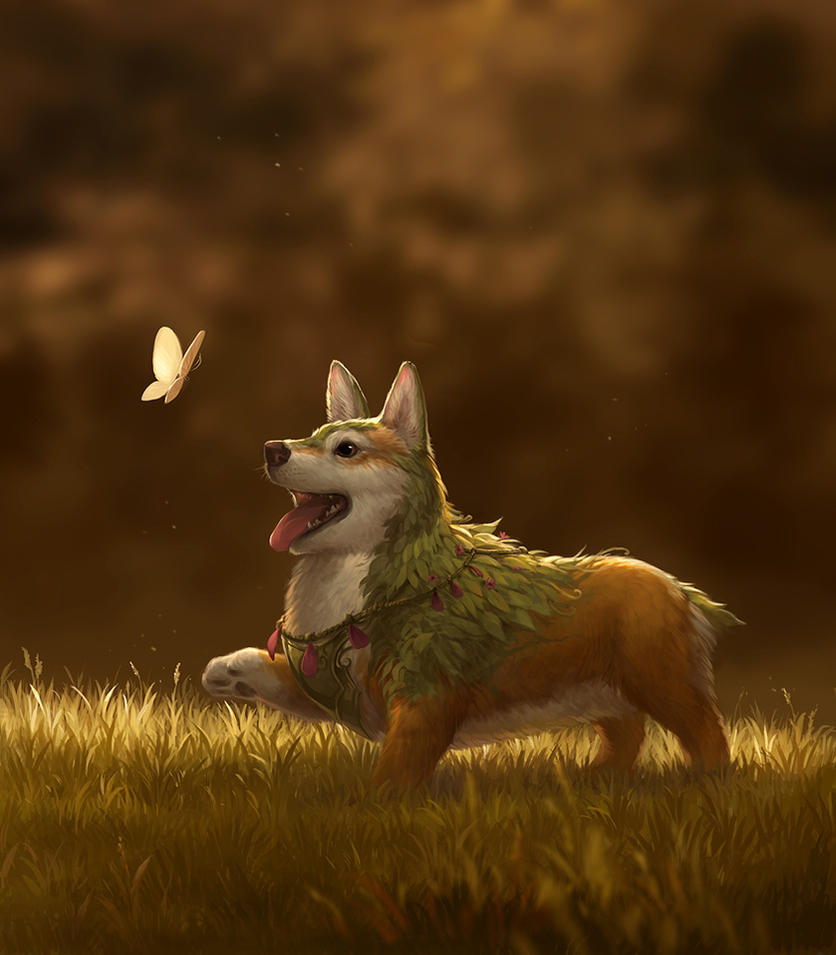 Flower Corgi by sandara