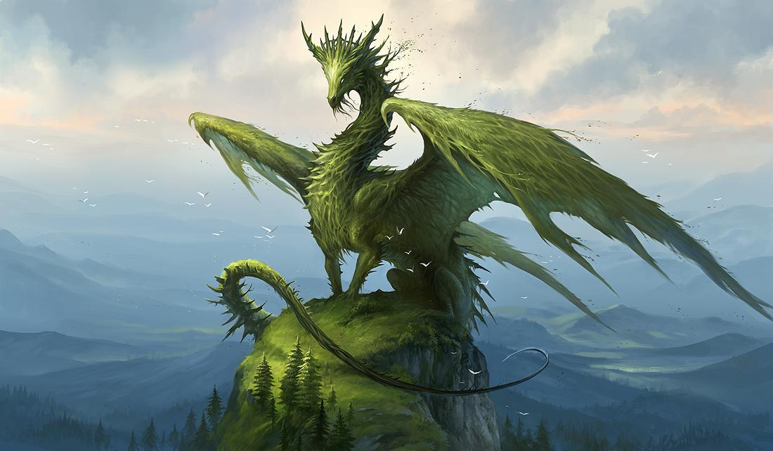 大岩にたたずむグリーンドラゴンの壁紙