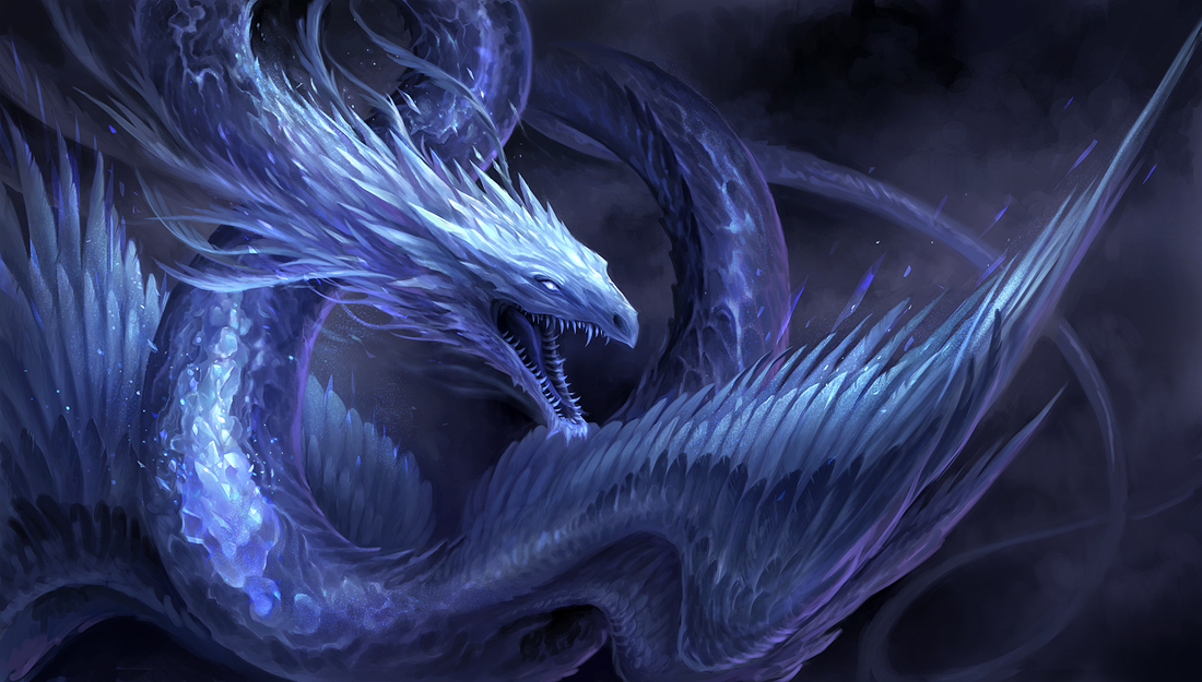 Blue crystal dragon by sandara on deviantart for Paintings of crystals