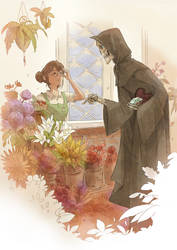 Death buying flowers by sandara