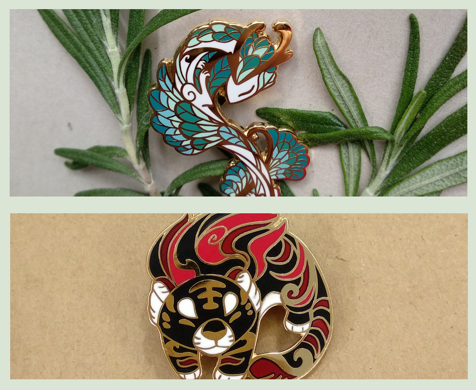 New pins! Serpent and Tiger by sandara