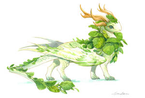 watercolor dragon 1 - the cute cabbage baby