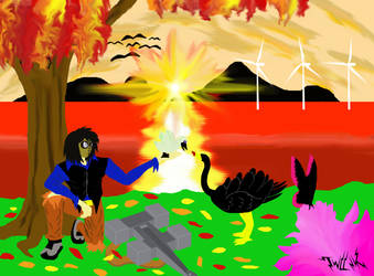 Black Swans in Autumn by TWILLIK-MAWEL