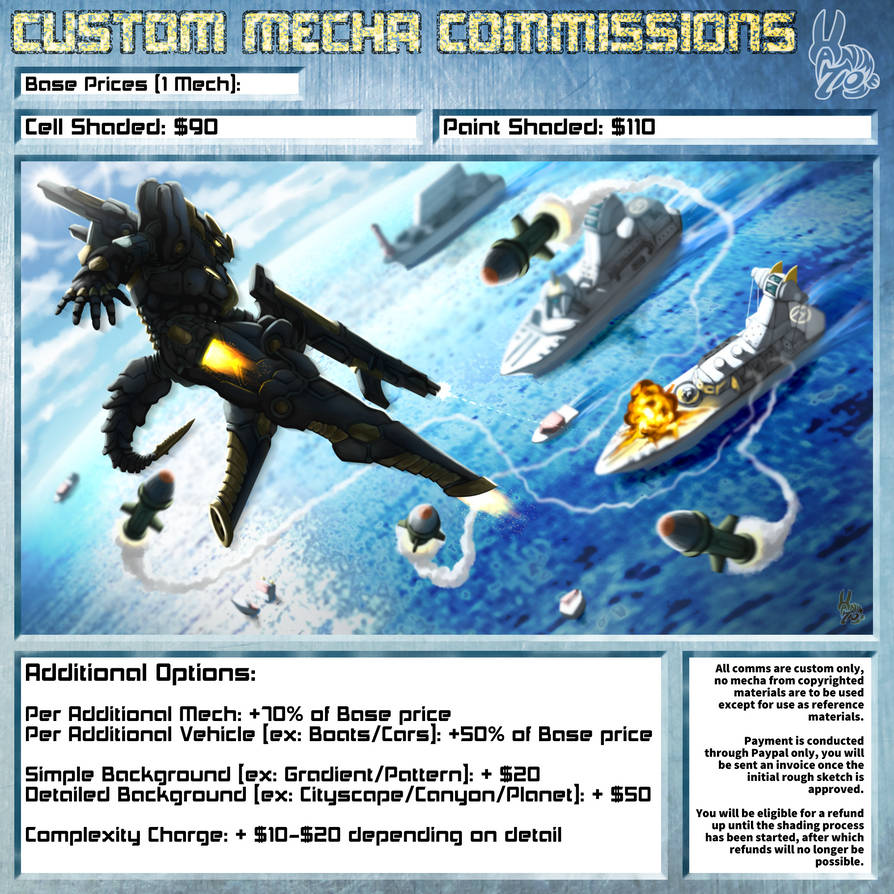 Custom Mecha Commission Price Sheet by Hanimetion