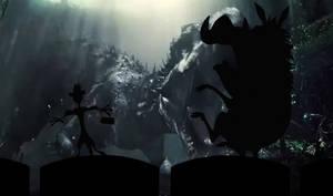 Timon and Pumbaa watch Jurassic World