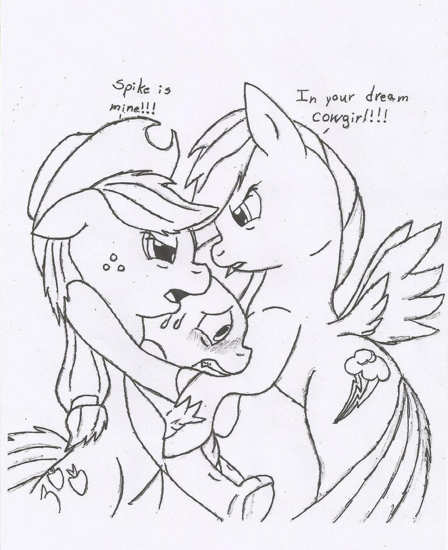 Rainbow Dash and Applejack fighting over Spike by DawnFelix on