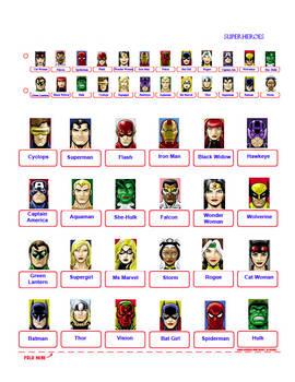 Guess Who?  SUPERHEROES (BLUE) (alternate sheet)