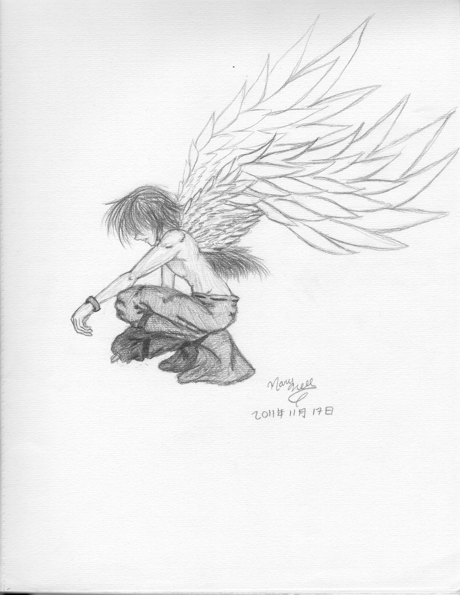 Sad Angel Sketches Confused Angel Sketch by