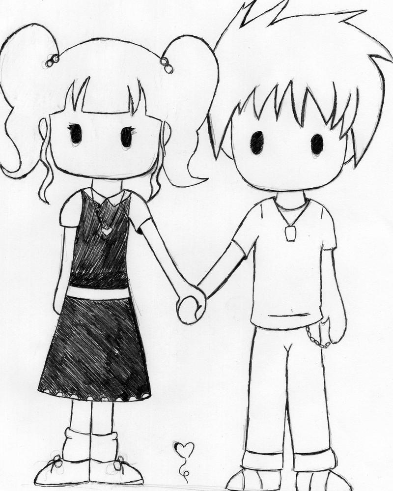 Cute Simple Line Art : Cute chibi couple by deathdealer on deviantart