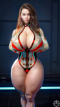 Yolanda posing in a Scifi room
