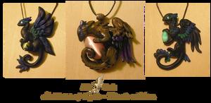 Black dragon necklaces-Light holders