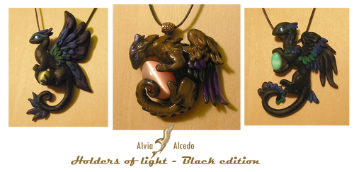 Black dragon necklaces-Light holders
