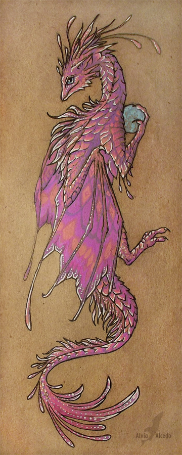 Pink dragon bookmark by AlviaAlcedo