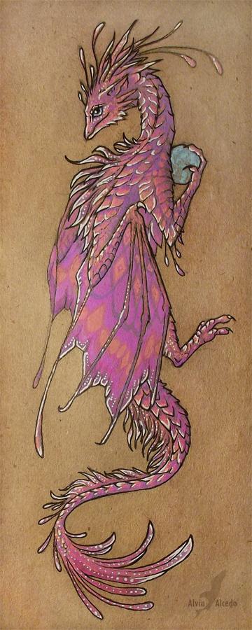 Pink dragon bookmark