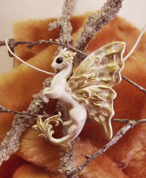 Albino fairy dragon necklace by AlviaAlcedo