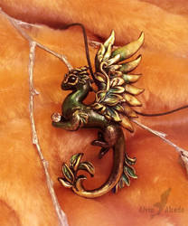Forest golden lily dragon necklace by AlviaAlcedo