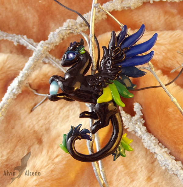 Forest neon dragon necklace by AlviaAlcedo
