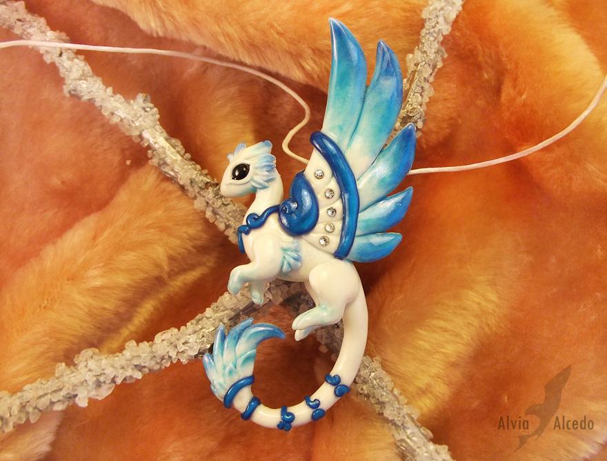 Crystal rain dragon  necklace by AlviaAlcedo