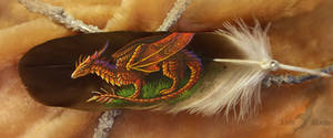 Sunset dragon - feather painting
