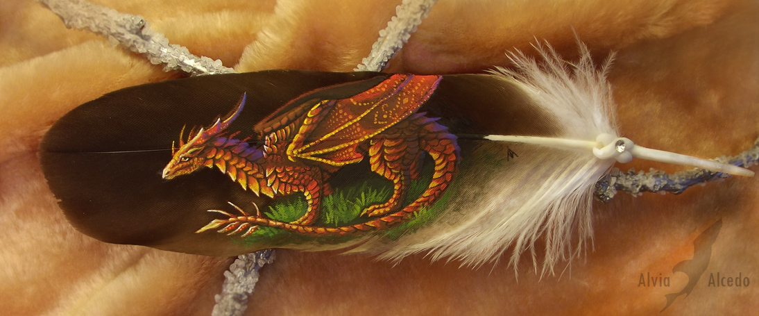 Sunset dragon - feather painting by AlviaAlcedo