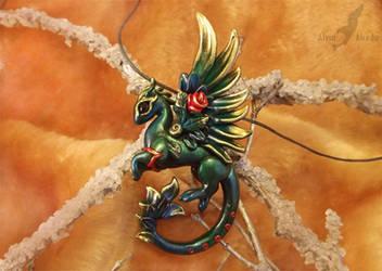 Rose dragon necklace by AlviaAlcedo