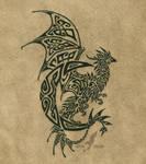Lunar dragon tattoo - black