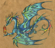Blue rainbow dragon - tattoo design
