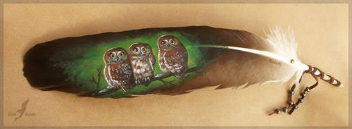 Owl trio - feather painting by AlviaAlcedo
