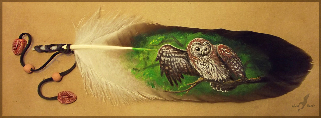 Feather painting - forest ghost