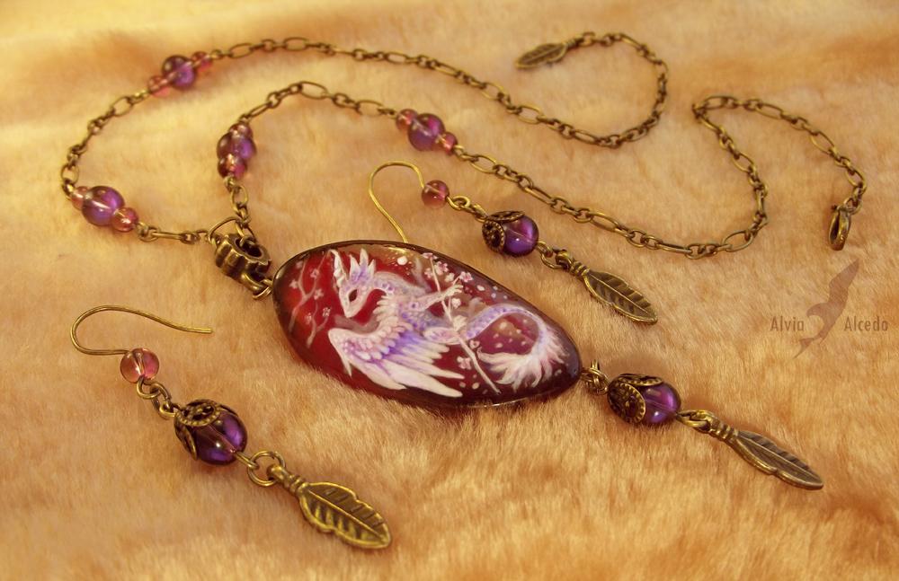 Stone painting - sakura dragon necklace set by AlviaAlcedo