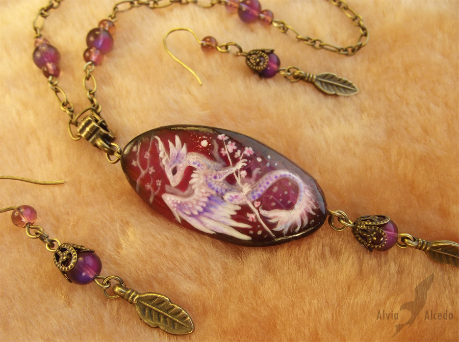 Stone painting- sakura dragon necklace set-details by AlviaAlcedo