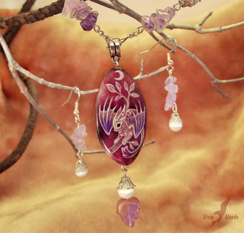 wire wrap pendant dragon painted Necklace Dragon Stone stone pendant dragon painted Baby dragon
