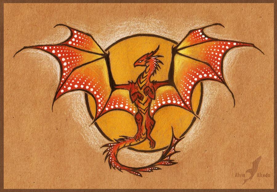 Sun dragon - tattoo design by AlviaAlcedo