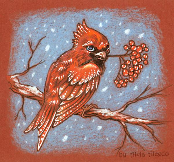 Red bird by AlviaAlcedo