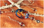 Stone painting- tiger dragon- necklace set