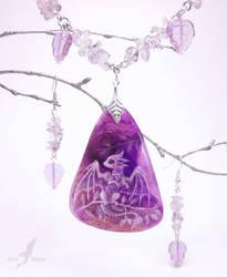 Purple crystal baby dragon - stone painting by AlviaAlcedo