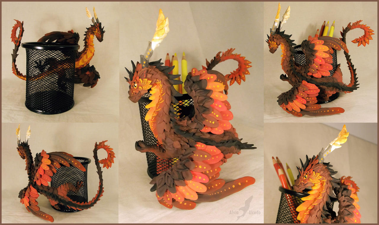 Dark  flame dragon - pencil holder by AlviaAlcedo
