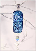 Water dragon-gatekeeper - stone painting necklace by AlviaAlcedo