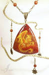 Sun dragon necklace - stone painting