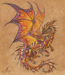 Tropical sunset dragon - tattoo design