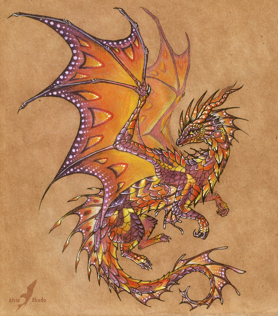 Tropical sunset dragon - tattoo design by AlviaAlcedo